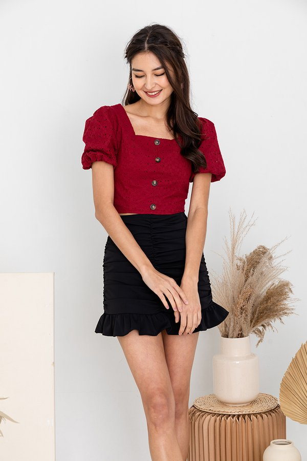 Sweet Hints of Eyelets Button Top Red