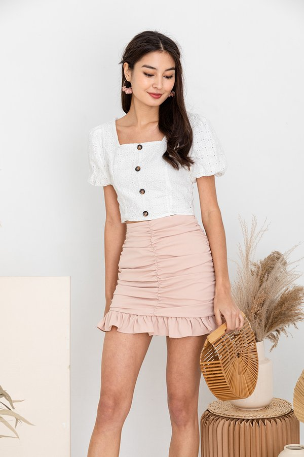 Sweet Hints of Eyelets Button Top White