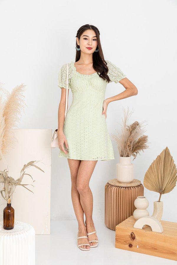 Au Naturale Eyelet Shirred Dress Mist Green