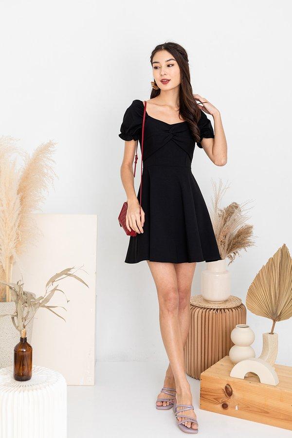 Little Milkmaid Black Puff Sleeve Dress