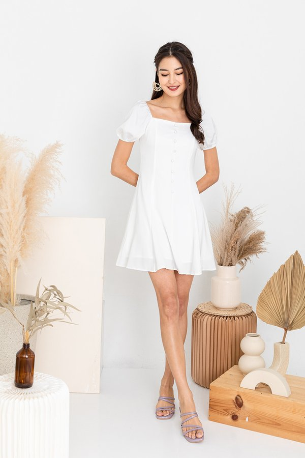 Flurry of Buttons Dress White