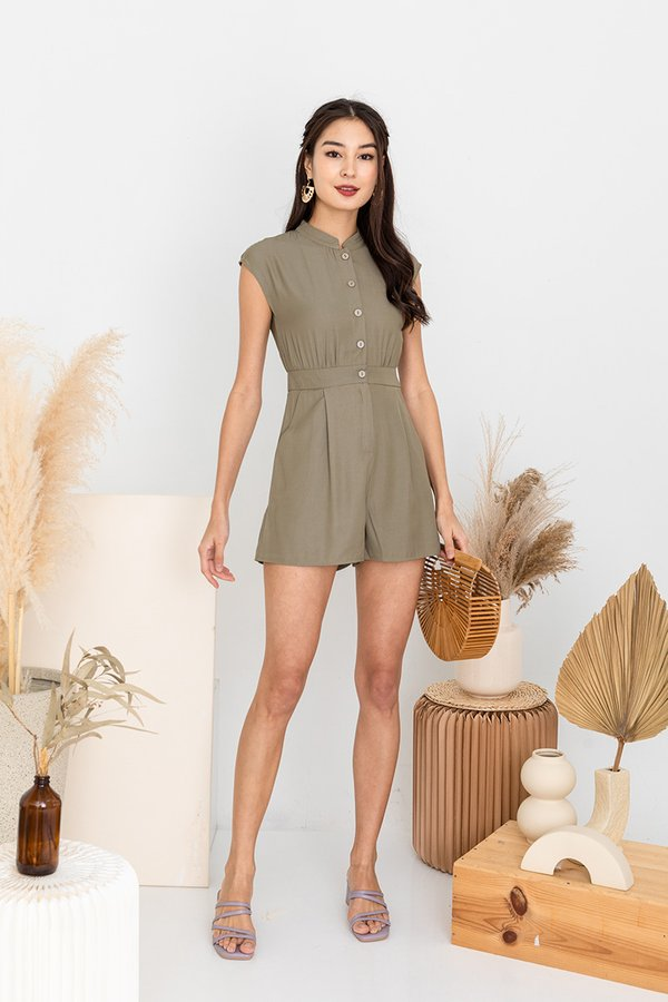 Of Utmost Comfort Button Romper Army Green