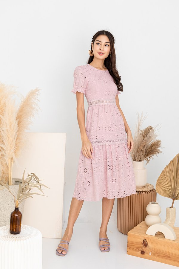 Realm of Dainty Eyelet Tier Midi Dress Blush