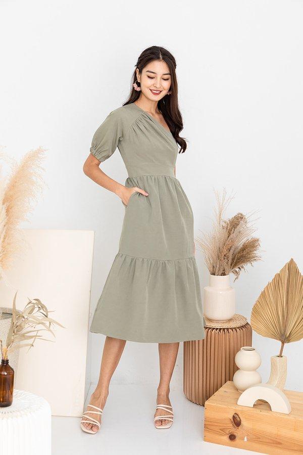 Tiers of Summer Swirls Toga Midi Dress Sage Green