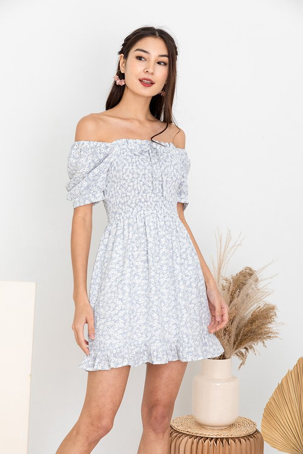 Meadow Bloom Medley Embroidery Smock Dress Blue