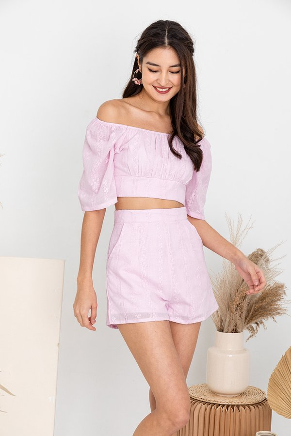 Charming Encounters Eyelet Two Piece Set Lilac