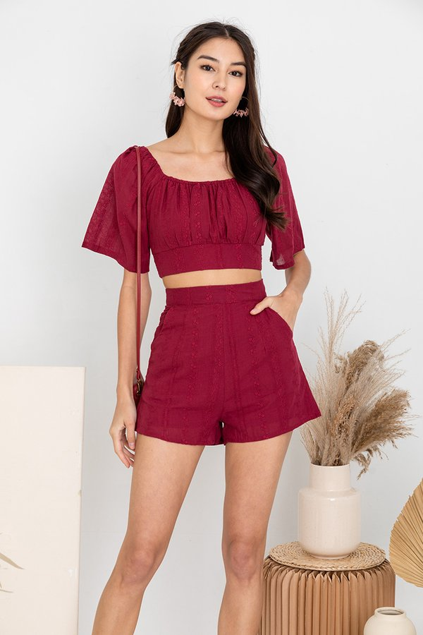 Charming Encounters Eyelet Two Piece Set Red
